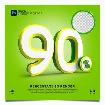 90 porcentaje 3d render verde, amarillo, blanco, colores con elementos