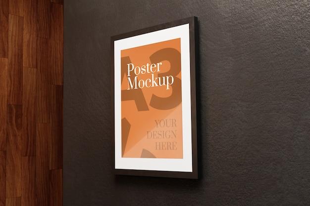 A3 poster mockup op zwarte muur