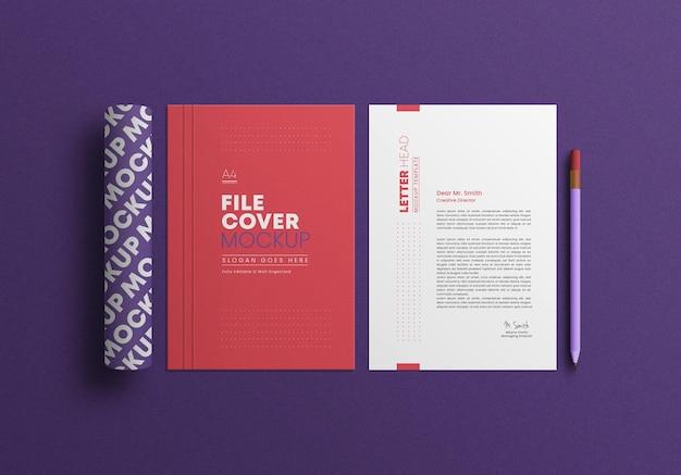 A4-bestand met briefpapier mockup voor briefpapier