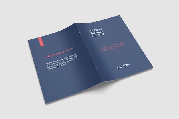 A4 brochure hoes mockup hoge hoek bekijken