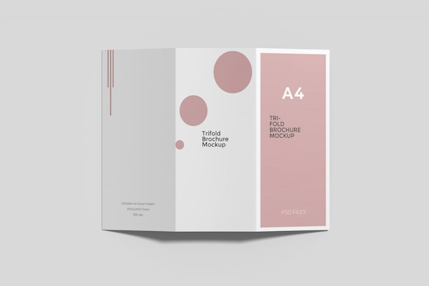 A4 driebladige brochure mockup engel bovenaanzicht
