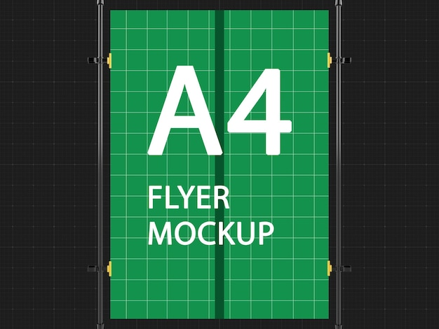 A4 flyer opknoping mockup ontwerpweergave