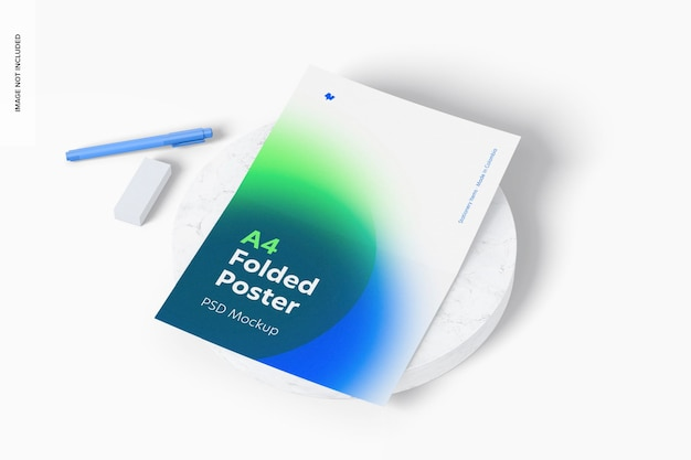 A4 gevouwen poster met pen en rubber