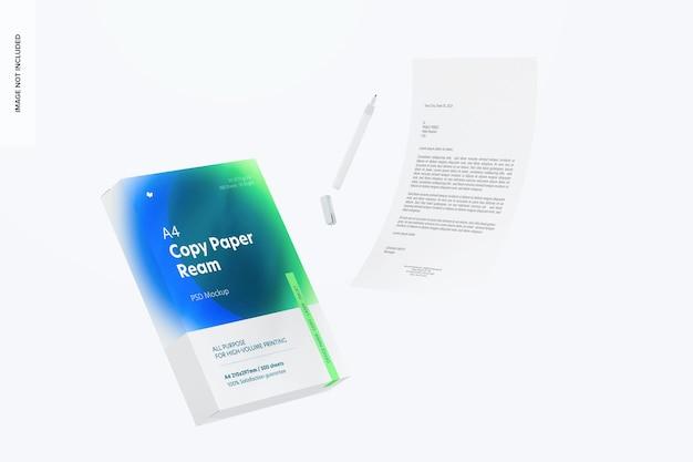 A4 kopieerpapier ream mockup, falling