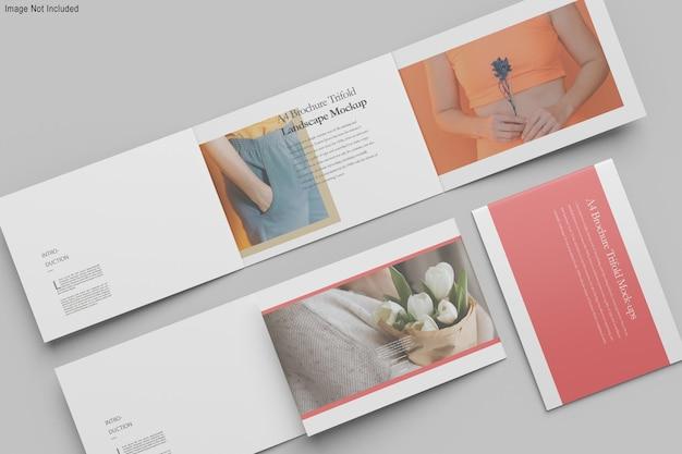 A4 liggend driebladige brochure mockup