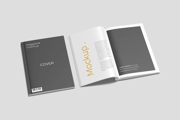 A4-omslag en geopend tijdschriftmodel