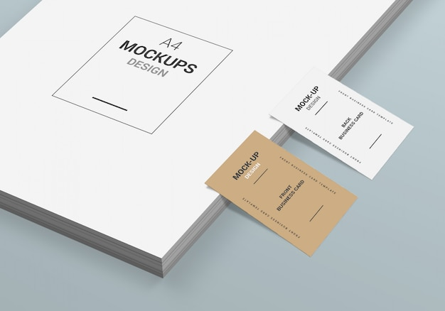 A4-pagina en visitekaartje mock-up