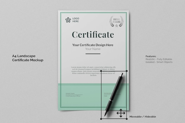 A4 portretonderwijscertificaat realistisch model met gestructureerd papier en handtekeningpen