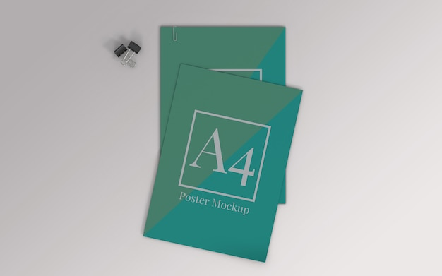 A4 poster mockup met ringbandclip en paperclip bovenaanzicht