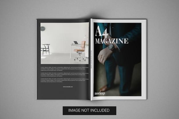 A4 tijdschrift mockup vooromslag en achteromslag