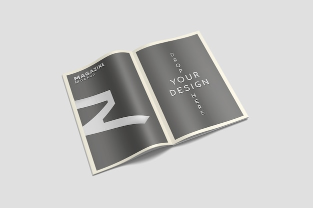 A4-tijdschriftmodel geopend in hoge hoekweergave
