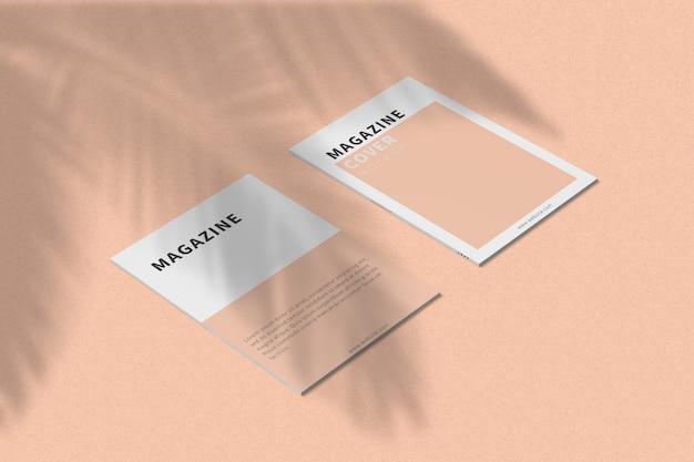 A4 tijdschriftomslag en achteromslag mock-up linkeraanzicht