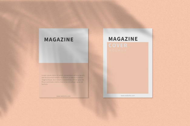 A4 tijdschriftomslag en achteromslag mockup bovenaanzicht