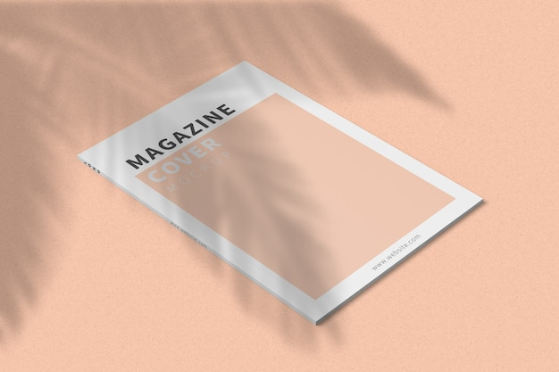 A4 tijdschriftomslag mockup linkeraanzicht