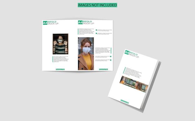 A4 tweevoudig brochure mockup bovenaanzicht