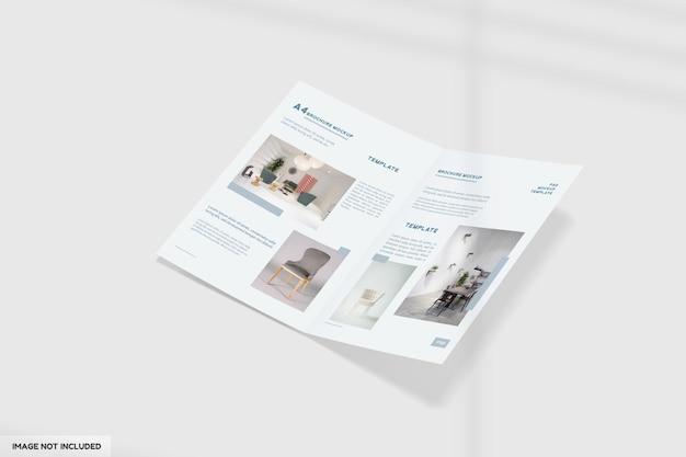 A4 tweevoudig meubelbrochure mockup met perspectiefweergave