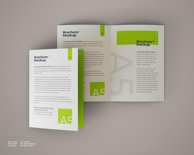 A5 tweevoudige brochure mockup die open en gesloten is