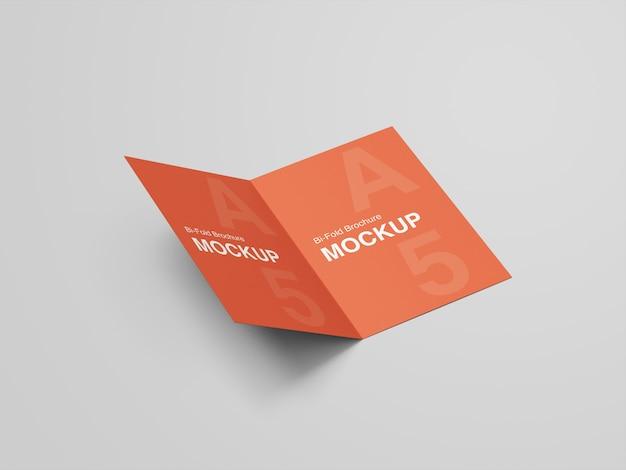 A5 tweevoudige brochure mockup ontwerpsjabloon