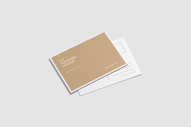 A6 maqueta de tarjeta postal de alto ángulo de disparo