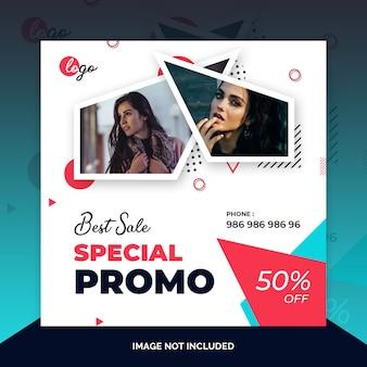 Aanbieding verkoop instagram post, vierkante banner of flyer sjabloon