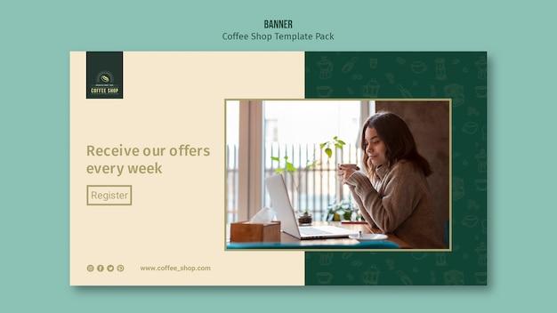 Aanbiedingen van coffeeshop banner template pack