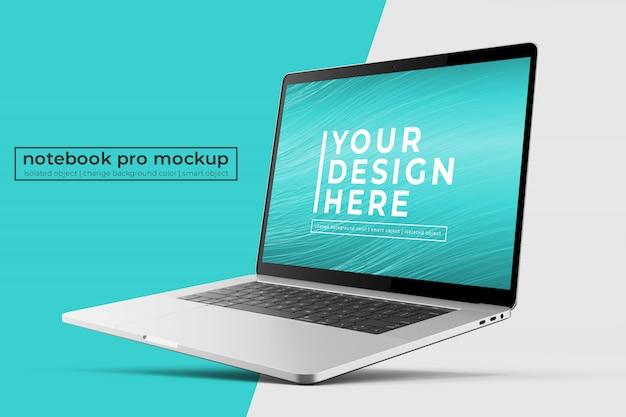 Aanpasbaar hoogwaardig 15'4 inch laptop-mock-upsontwerp in rechtgekantelde positie