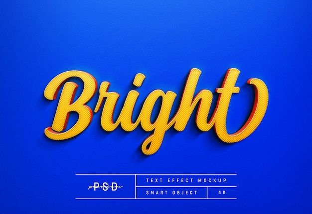 Aanpasbare bright text style effect mockup template