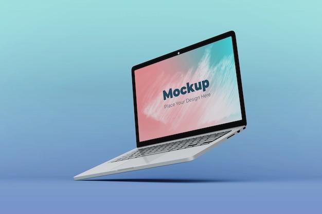 Aanpasbare drijvende laptop mockup ontwerpsjabloon