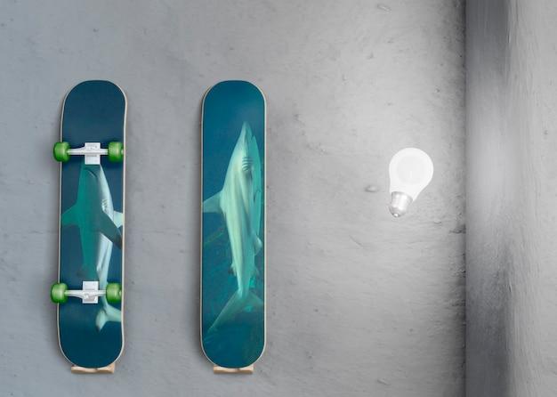 Aanpasbare houten skateboards met mock-up