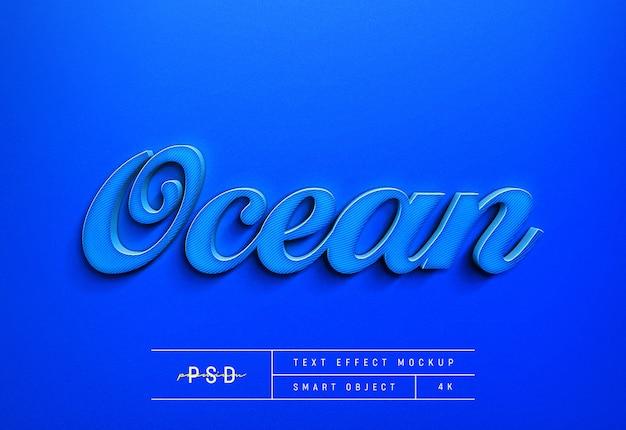 Aanpasbare oceaan blauwe tekststijl effect mockup template