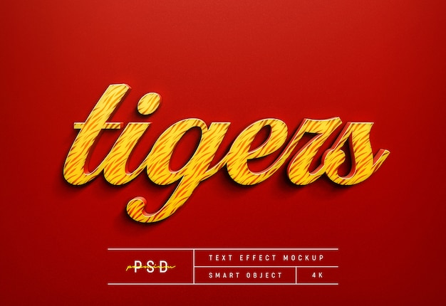 Aanpasbare tiger red text style effect mockup template
