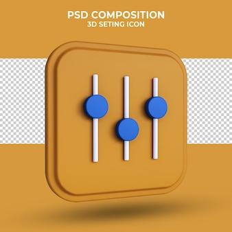 Aanpassing instellen pictogram 3d-rendering geïsoleerd