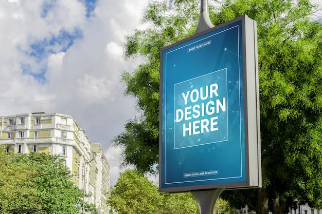Aanplakbord in een stadsmodel