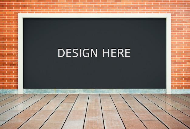 Aanplakbord op bakstenen muur of exemplaar ruimteachtergrond
