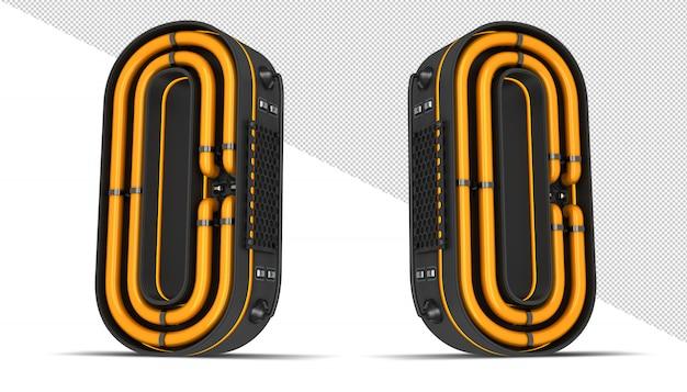 Aantal neonlicht 3d-rendering illustratie