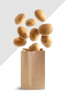 Aardappelen vliegen in recyclebare papieren zak geïsoleerd