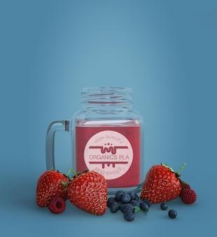 Aardbeien en bosbessen smoothie mock-up