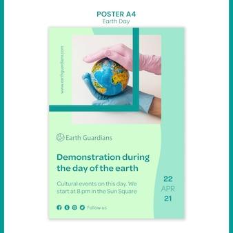 Aarde dag concept poster sjabloon