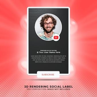 Abonneer me op youtube sociale media onderste derde 3d-ontwerp render banner icon profile