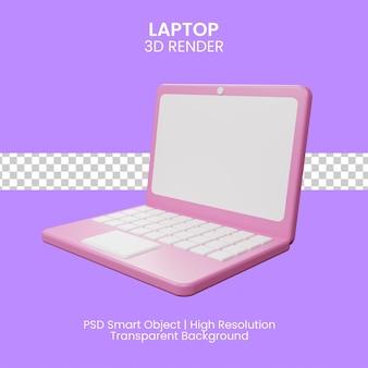 Abra el icono de la computadora portátil. concepto de ilustración 3d