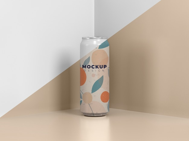 Abstract blikverpakking mock-up