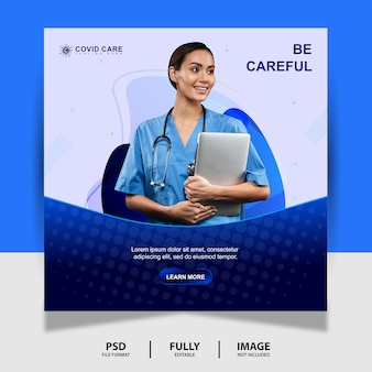 Abstract blue health doctor social media post banner