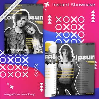 Abstract, kleurrijk tijdschriftmodel van twee tijdschriften op kleurrijk ontwerp met samenvatting en pop-artelementen psd-spot omhoog