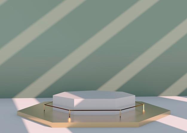Abstract leeg podium met schaduw. mock-up stand voor productpresentatie. 3d-weergave. minimaal begrip. product weergeven.