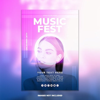 Abstract muziekfestival poster mockup
