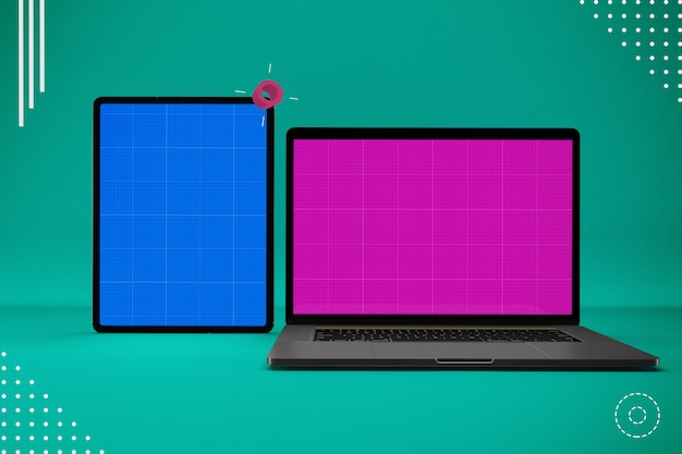 Abstracte laptop en tablet mockup