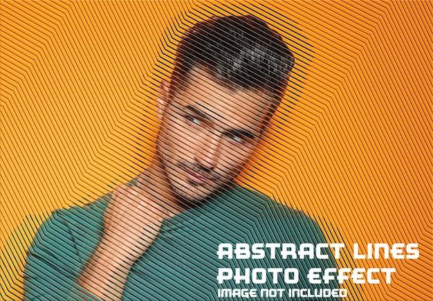 Abstracte lijnen foto-effect mockup