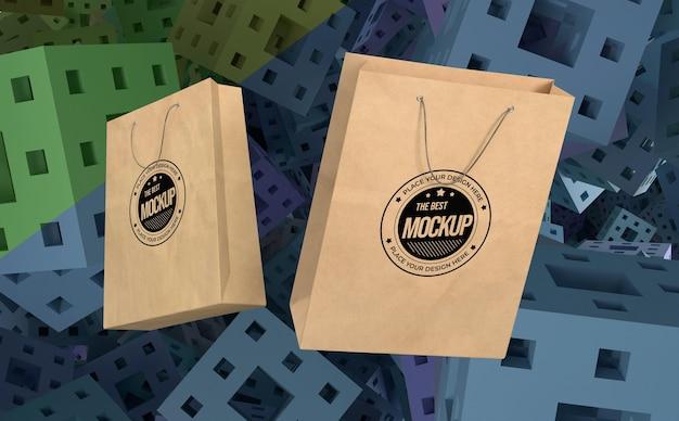 Abstracte mock-up koopwaar boodschappentassen