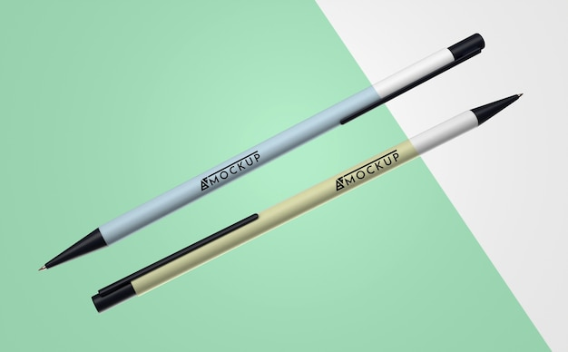 Abstracte mock-up koopwaar met een stel pennen