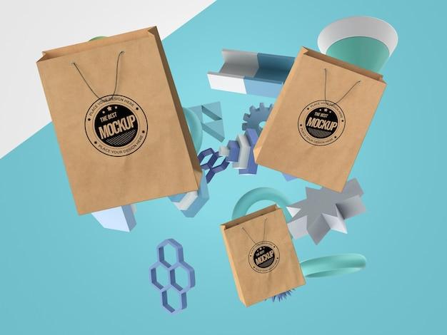 Abstracte mock-up merchandise met boodschappentassen